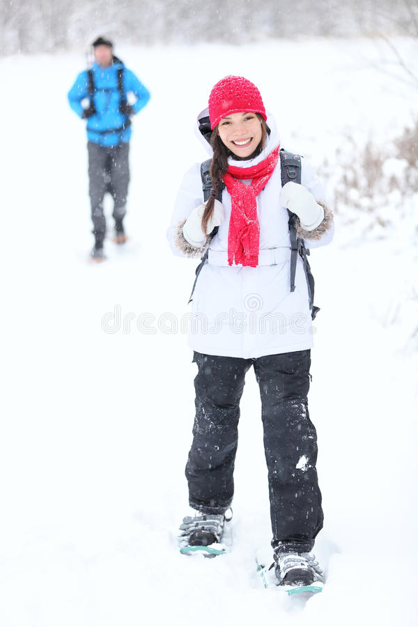 Snowshoeing winter hiking stock image