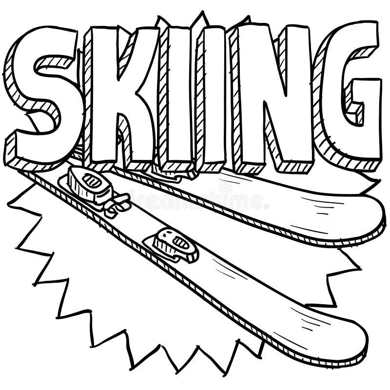 Snowskidåkningen skissar stock illustrationer