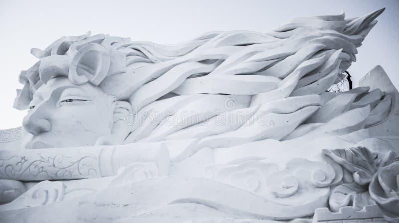 Snowskulpturer på den Harbin isen och Snowfestivalen i Harbin Kina arkivbild