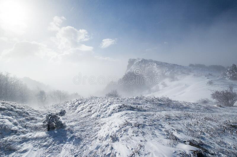 Snowstorm in the Crimean mountains. Blizzard in the winter Crimean mountains royalty free stock photography