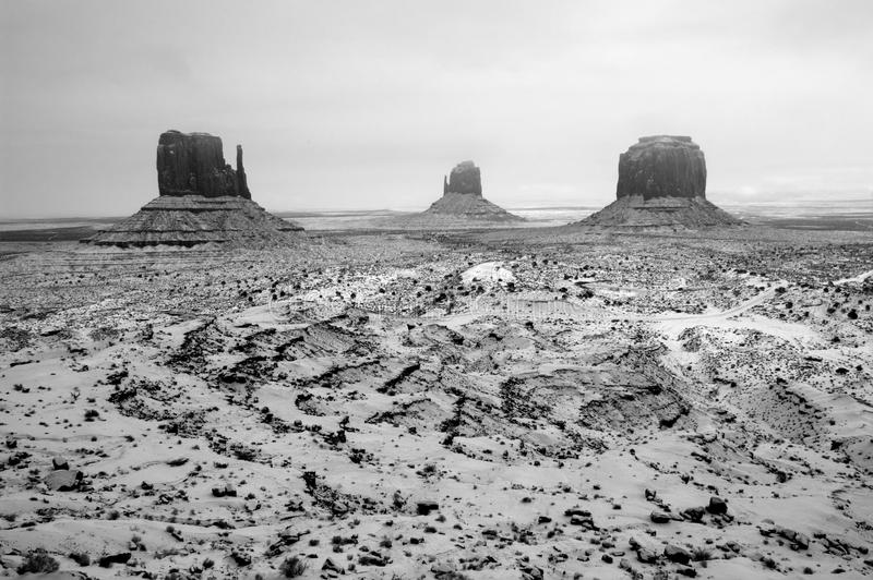 Snowstorm, Monument Valley Navajo Tribal Park royalty free stock photo