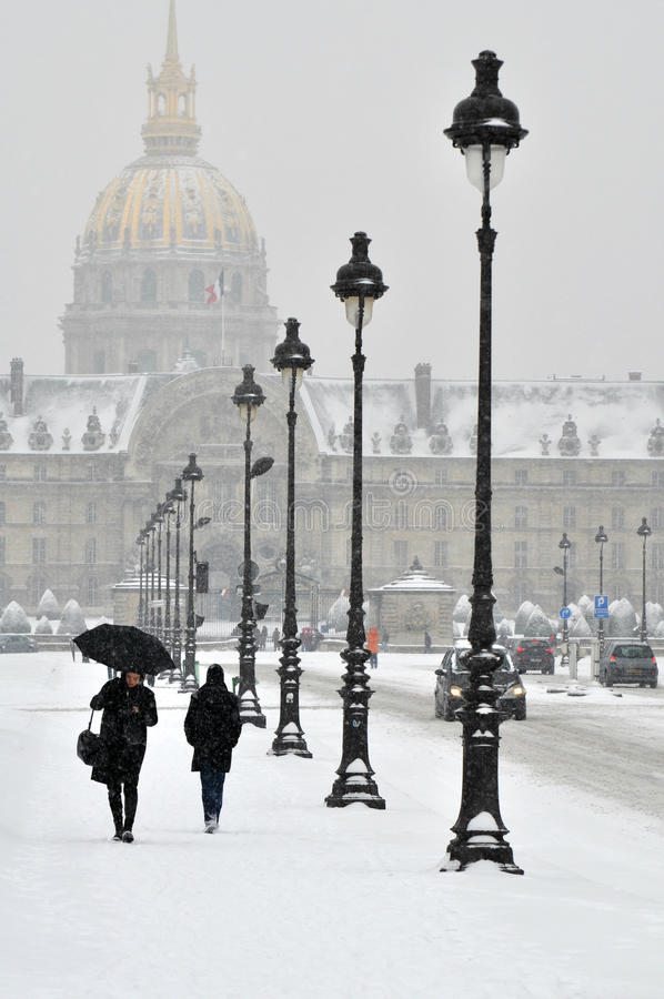 Snowstorm in Paris, France royalty free stock photography