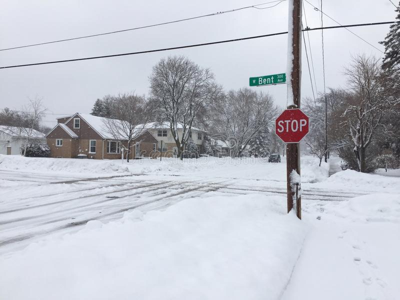 Snowstorm Street Intersection stock photography
