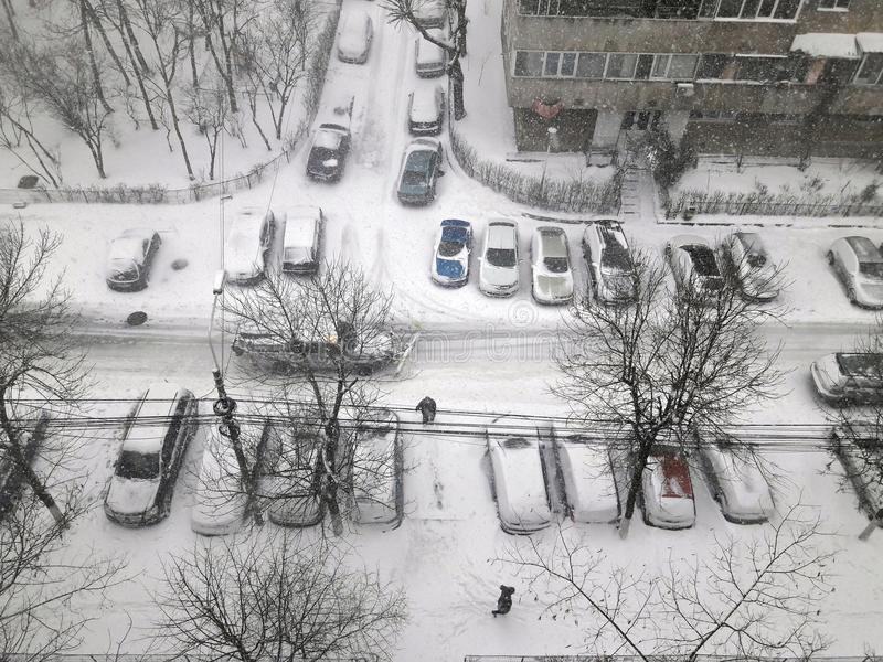 Cars under snow in march stock image
