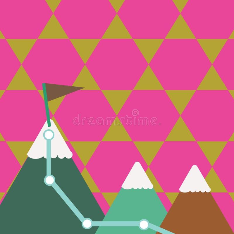 Иллюстрация 3 красочных гор со следом и белой верхней части Snowy с флагом на одном пике Творческая предпосылка иллюстрация вектора