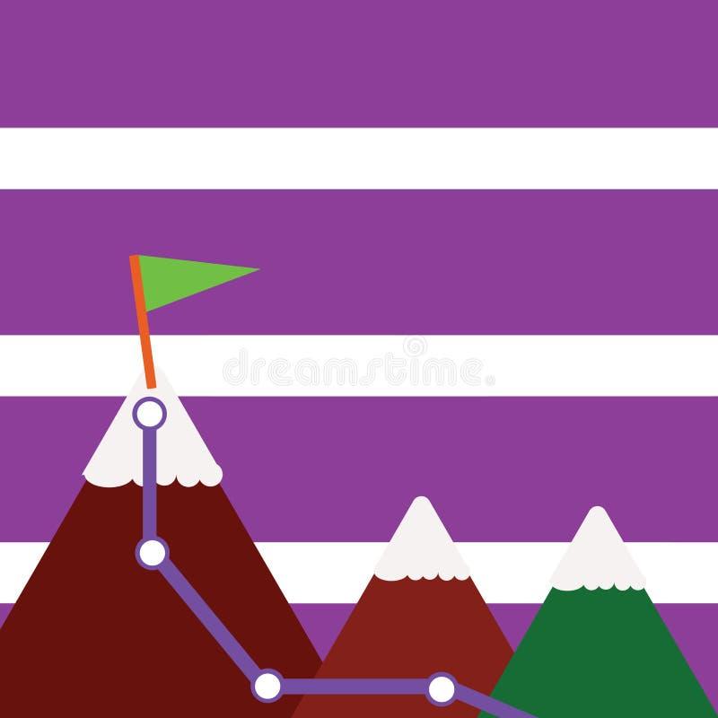 Иллюстрация 3 красочных гор со следом и белой верхней части Snowy с флагом на одном пике Творческая предпосылка иллюстрация штока