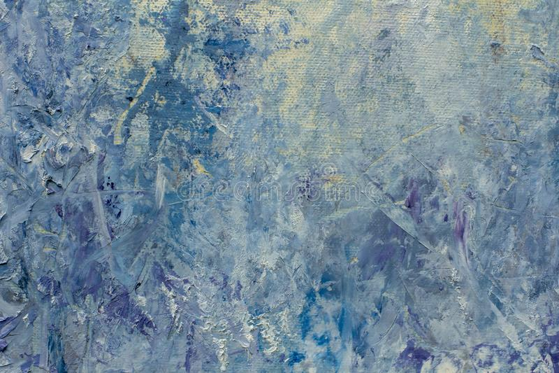 Trees in the snow - oil painting on canvas. Snowy, abstract, background of oil painting on canvas stock photo