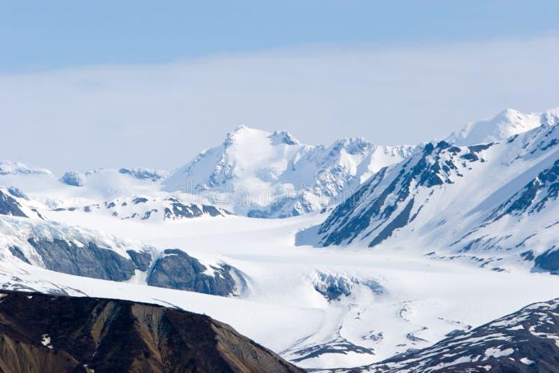 Snowy Alaska mountains. Snowy mountain tops in Alaska royalty free stock image