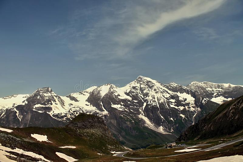 snowy alps and a beautiful view of them royalty free stock images