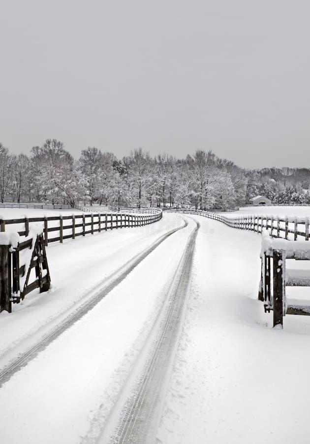 Snowy-Bauernhoffahrstraße stockfotografie