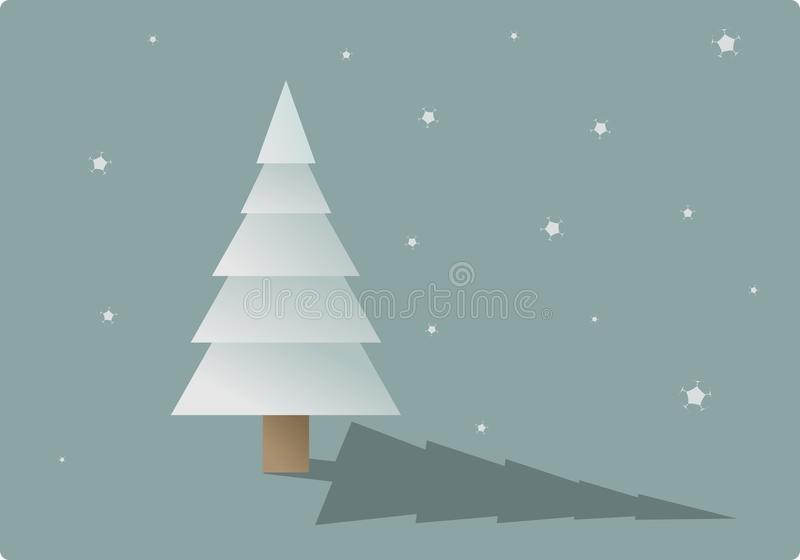 Snowy-Baum mit fallenden Schneeflocken stockbilder