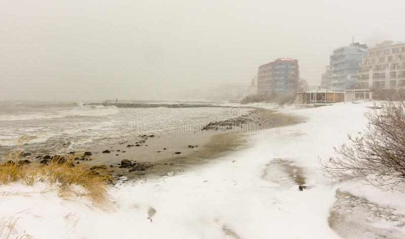 Snowy beach town of Pomorie, Bulgaria, 31 december royalty free stock image