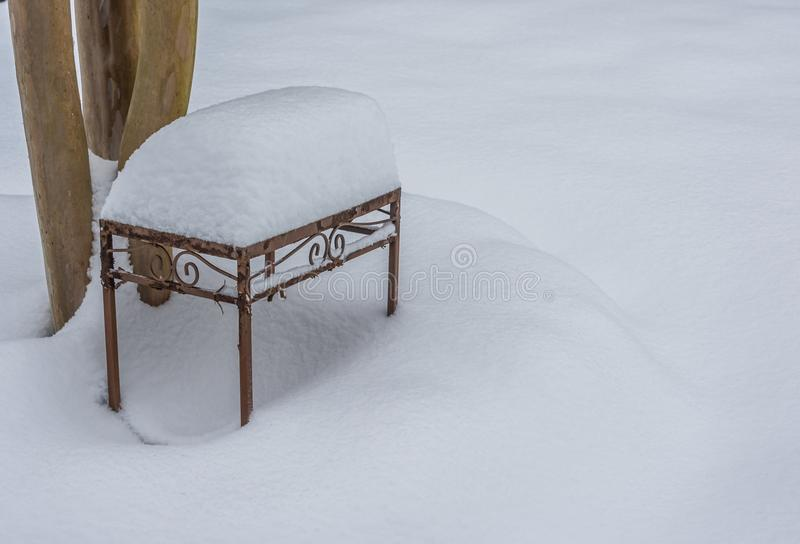 Download Snowy bench stock photo. Image of tree, weather, winter - 83711698