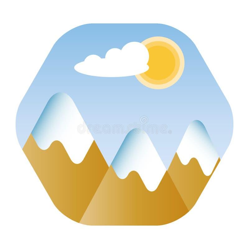 Snowy-Berge gestalten mit blauem Himmel, Wolke und Sonne landschaftlich lizenzfreie abbildung