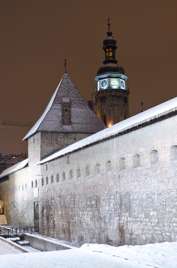 Download Snowy Bernardine Monastery In Lviv At The Night Stock Photo - Image: 28866452