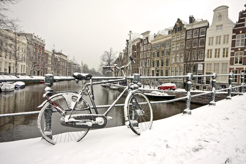 Download Snowy Bike In Amsterdam The Netherlands Stock Image - Image: 12263929
