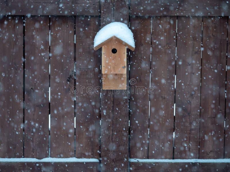 Snowy bird house stock photos