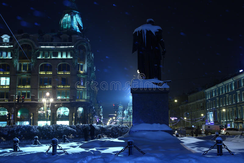 Download Snowy blue city at night stock photo. Image of snowing - 13211336