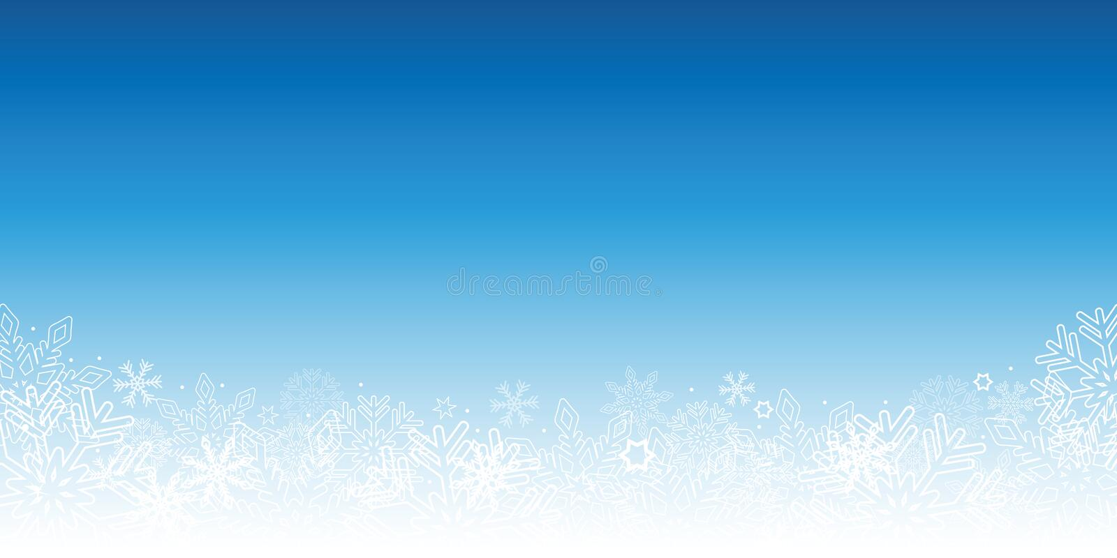 Snowy blue winter background with snowflakes stock illustration