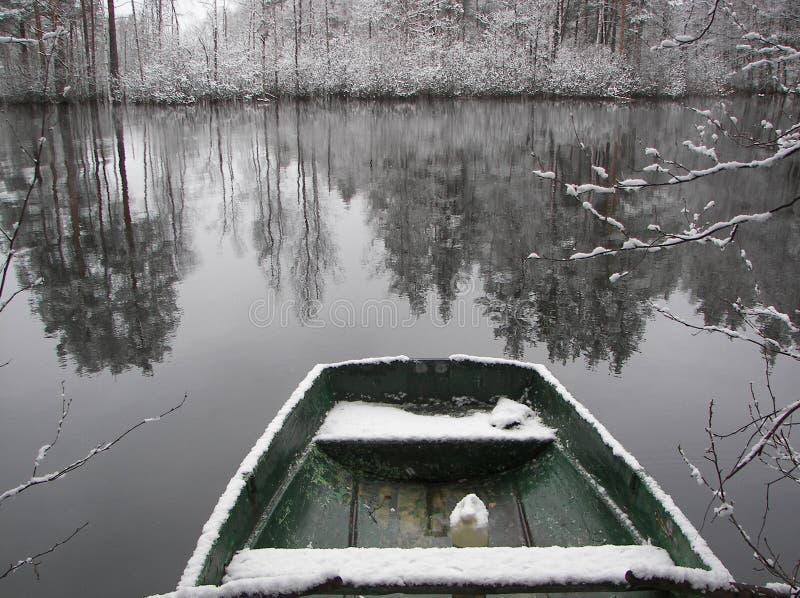 Snowy boat stock image
