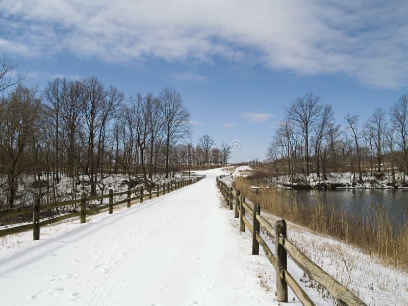 Snowy-Brücke lizenzfreies stockbild