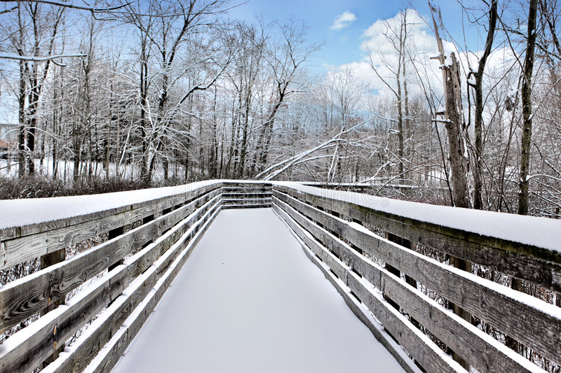 Download Snowy bridge stock photo. Image of peaceful, michigan - 4246614