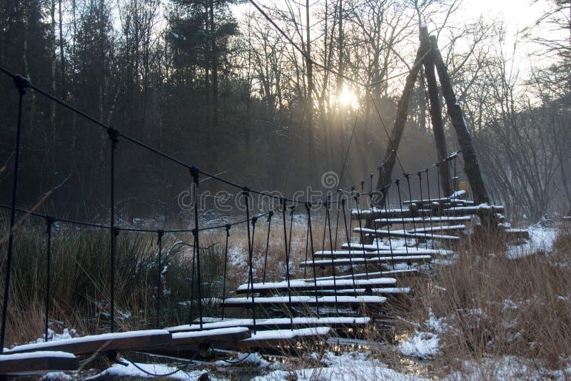Snowy bridge in the snow stock photo
