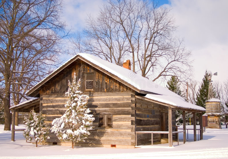Snowy Cabin stock photos