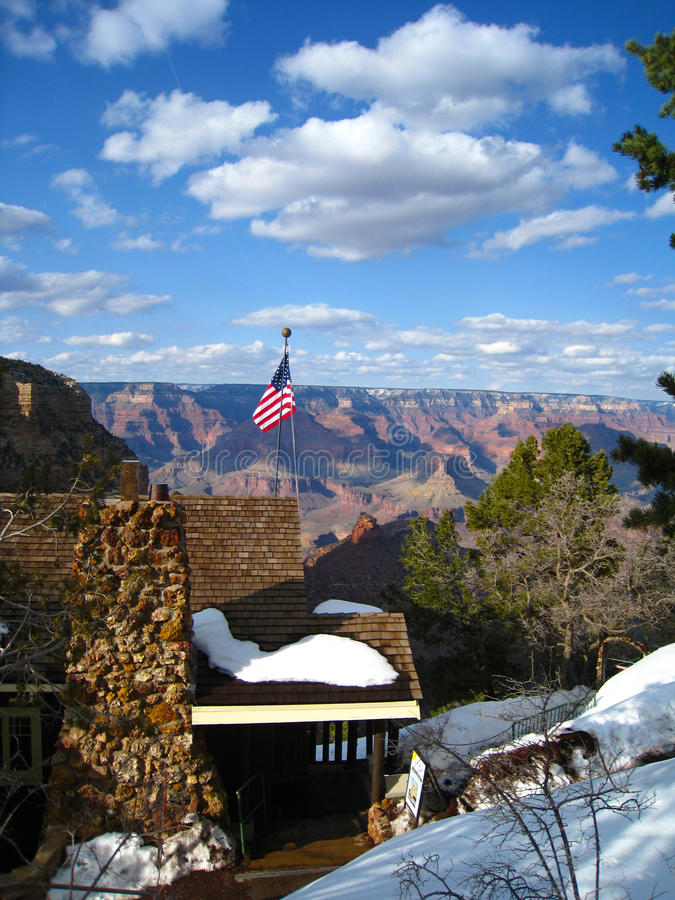 Download Snowy Cabin On The Grand Canyon Stock Image - Image: 13705215