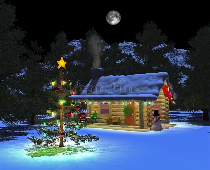 Snowy_cabin_night_02 illustration de vecteur