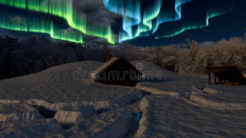 Snowy Cabin in the Woods. A Cabin in the woods covered in snow. as the aurora shines in the night sky