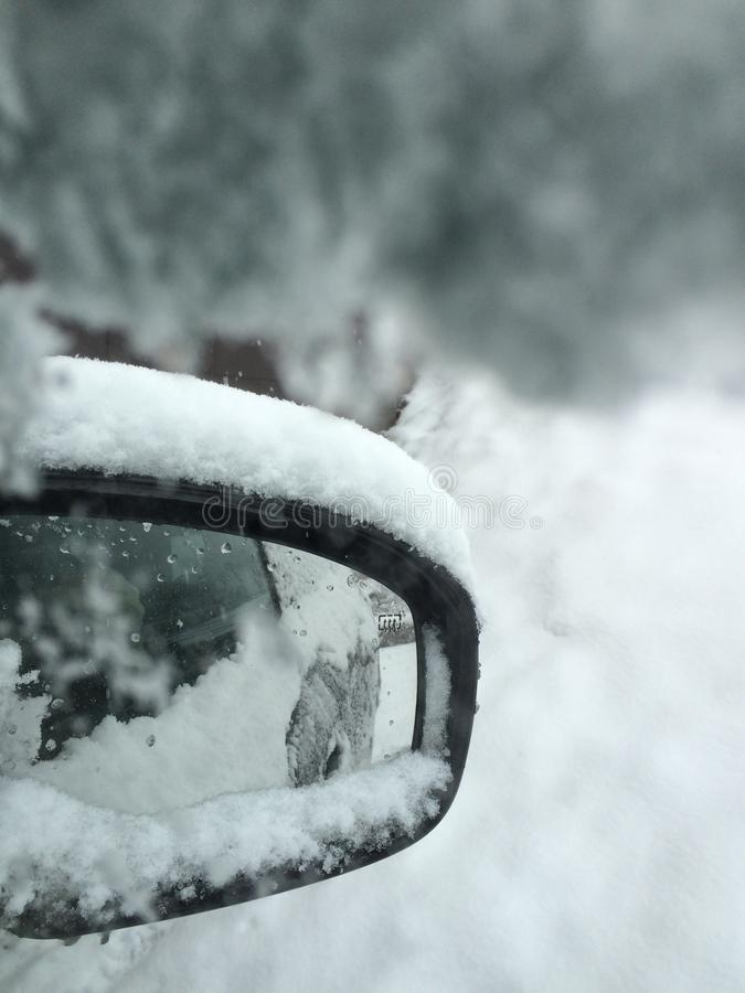 Snowy car royalty free stock photography