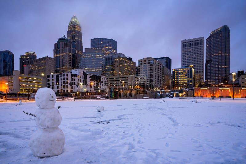 Snowy Charlotte, North Carolina 2 lizenzfreies stockfoto