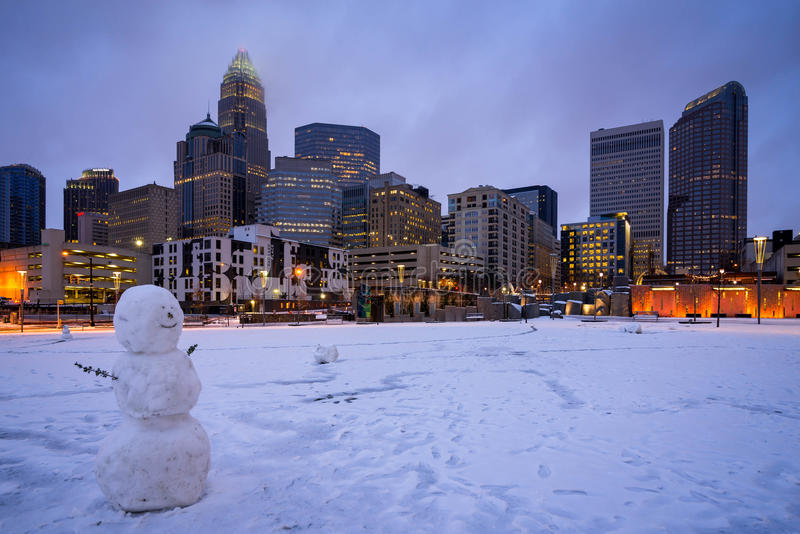 Snowy Charlotte, North Carolina 2 royalty free stock photo