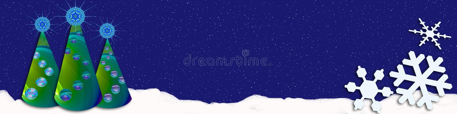 Snowy Christmas banner. This banner / header has a snowy sky and cute decorative trees. The right corner is covered with snowflakes stock illustration