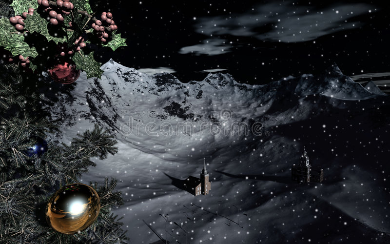 Download Snowy Christmas landscape stock illustration. Image of snows - 6982488