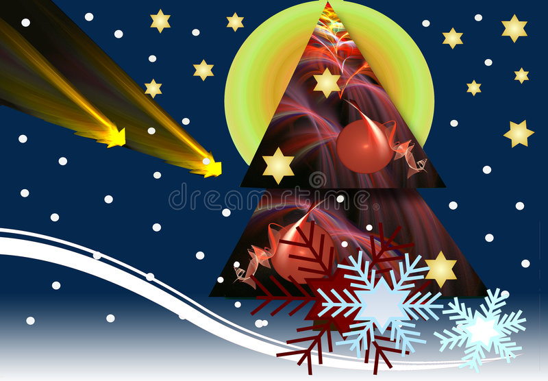 Snowy Christmas night. Illustrative mixed media Christmas design with bright stars a big X-mas tree and decorative snowflakes stock illustration