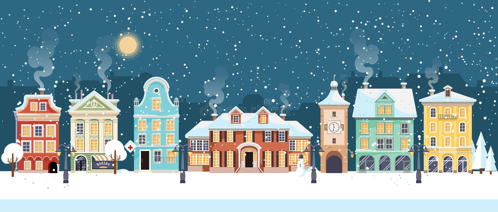 Snowy Christmas night in cozy town city panorama. Winter village holiday landscape, vector illustration. Snowy Christmas night in cozy town city panorama. Winter stock illustration