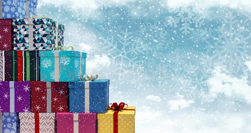 Snowy Christmas presents background. 3D Rendering stock image