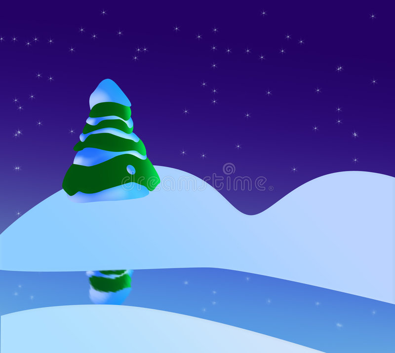 A Snowy Christmas Scene With Christmas Tree, River And Stars stock illustration