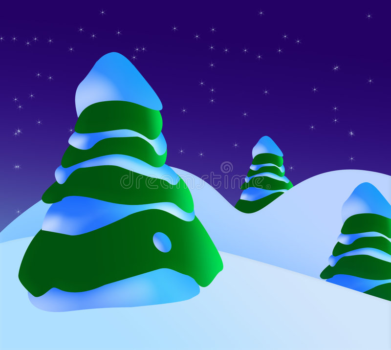A Snowy Christmas Scene With Christmas Trees And Stars vector illustration