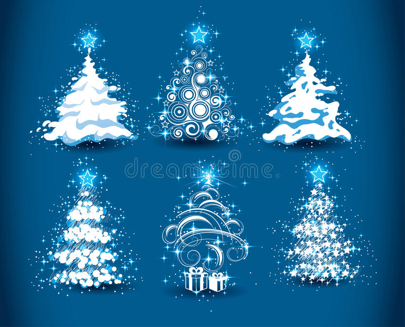 Snowy Christmas trees. Illustrated set of six snowy Christmas trees isolated on blue background