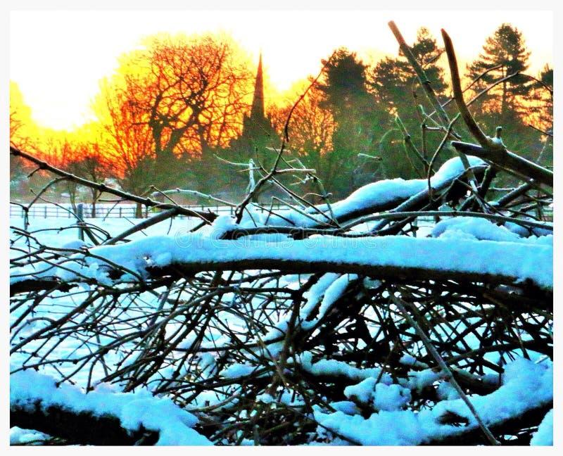 Snowy church scene stock photography