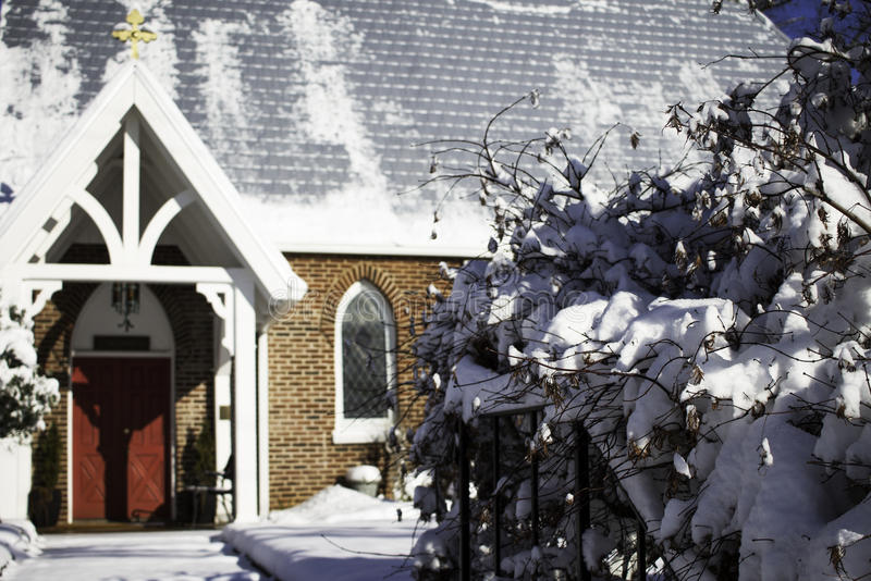 Snowy Church stock image