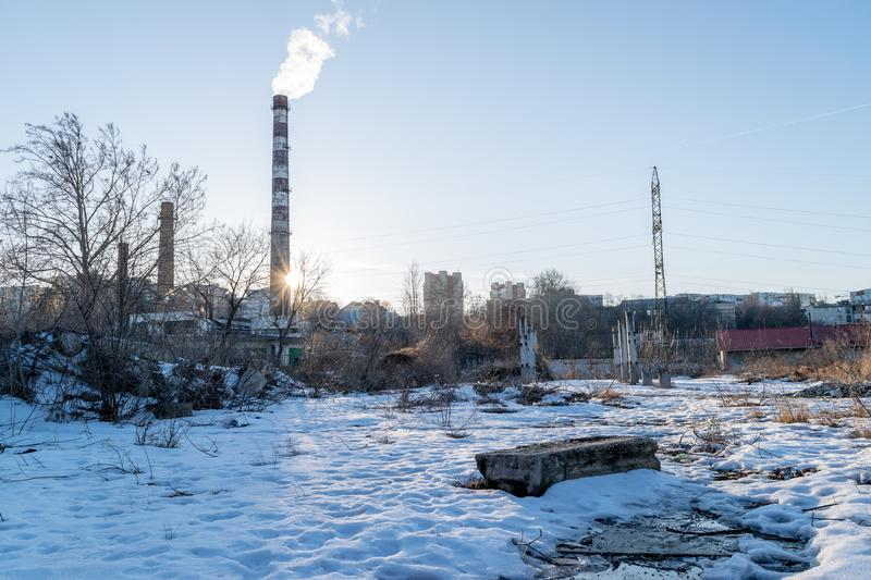 A snowy cityscape from the industrial part of Chisinau, Moldova. royalty free stock image