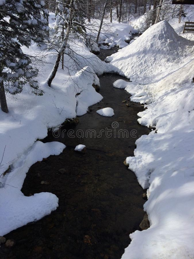 Snowy creek. In the mountains royalty free stock images