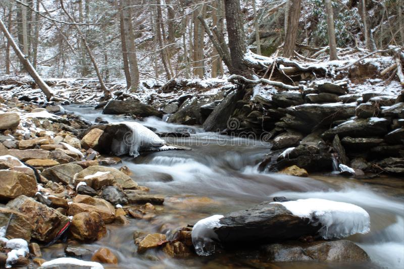 Icy and snowy creek. Snowy creek in winter in the Appalachian Mountains royalty free stock images