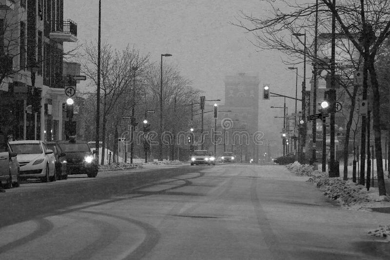 Snowy Darky Urban Street Mornings royalty free stock photography