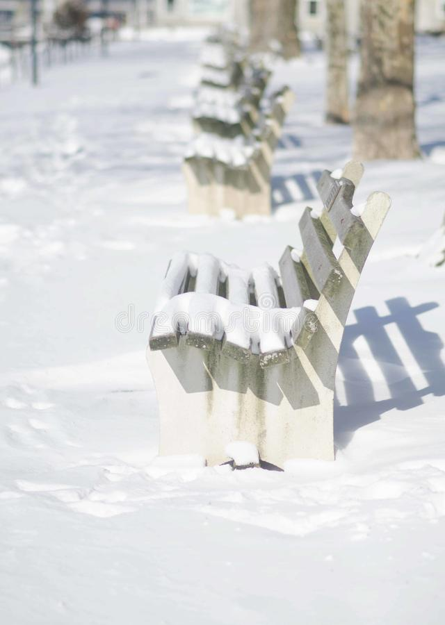 A snowy day in Northport Village. royalty free stock photos