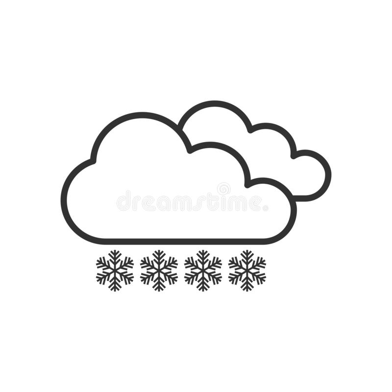 Snowy Day Outline Flat Icon on White vector illustration